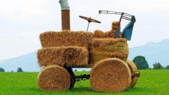 les tracteurs en paille fréquents dans les champs en Belgique après les moissons.