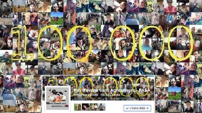 Cap 100000 j'aime pour la page Facebook Pas d'avenir sans agriculteurs