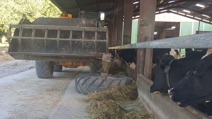 Un ancien pneu de tracteur vissé sur un tambour de faucheuse, le tout soudé sur un essieu directionnel d'arracheuse à pommes de terre.