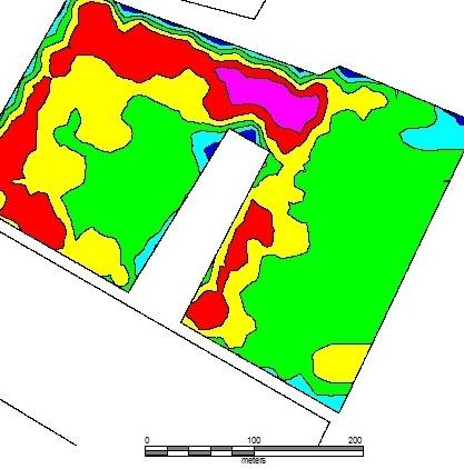 Carte de préconisation de modulation d'apport d'azote sur colza réalisée avec une observation drone.