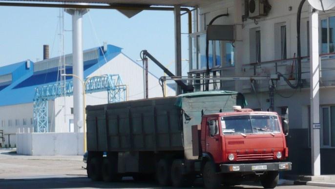 Aire de collecte de céréales en Ukraine, port d'Odessa.