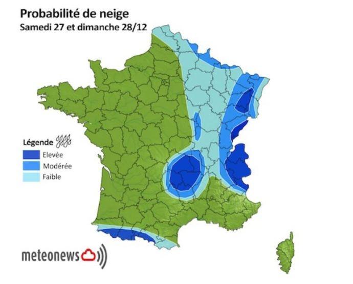 Probabilité de neige samedi 27 et dimanche 28 décembre 2014.