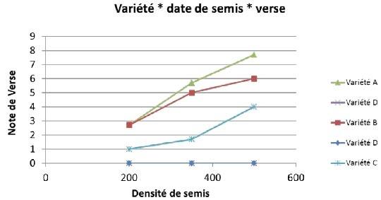 Figure 2 : Impact de la densité de semis de variétés de blé tendre sur le risque de verse – Illustration avec l'essai Vraux (51) – semis 12/10/2006 – modalités densité de semis couplées à des variétés.
