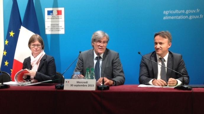 Stéphane Le Foll a présenté un budget 2016 pourl'agriculture en baisse de 2,8%, sans impact sur le financement des mesures d'intervention, notamment en faveur del'élevage.