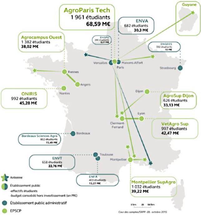 Carte des établissements d'enseignement supérieur agricole public en 2015