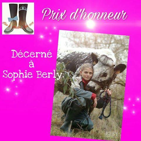 Prix d'honneur pour Sophie Berly à miss agri 2017