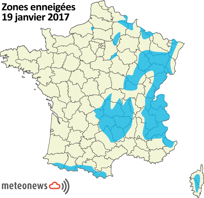 Couverture neigeuse au 19 janvier sur la France.