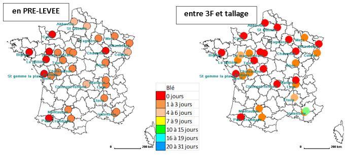Figure 1: Nombre de jours disponibles, 4 années sur 5, pour le désherbage mécanique d'un blé à l'automne (analyse climatique fréquentielle sur 20 ans). Outils appropriés: herse étrille ou houe rotative