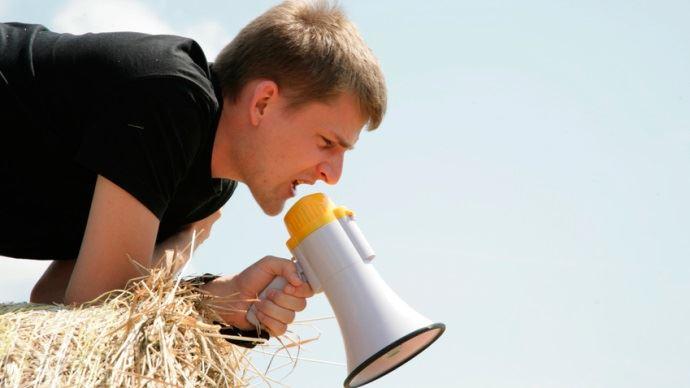 Agriculteur et haut parleur