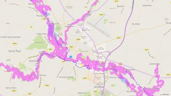La carte interactive FM GLobal couvre l'ensemble du globe. la précision du zonage est un carré de 90 mètres de côté.