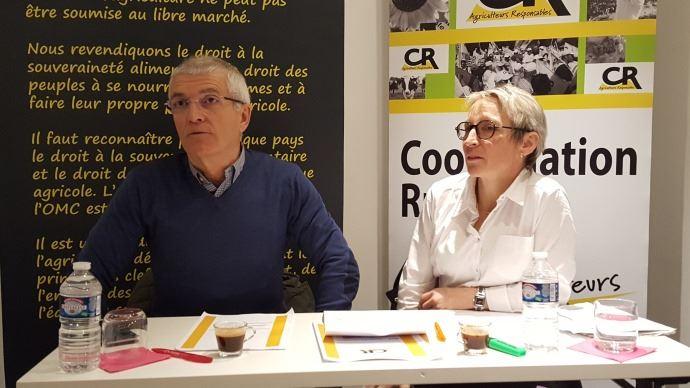 Bernard Lannes, président de la Coordination rurale, et Véronique Le Floc'h, secrétaire générale du syndicat, lors de la présentation de leurs voeux mercredi 10 janvier 2018.