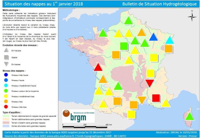 Carte sur la situation des nappes phréatiques au 1er janvier 2018.