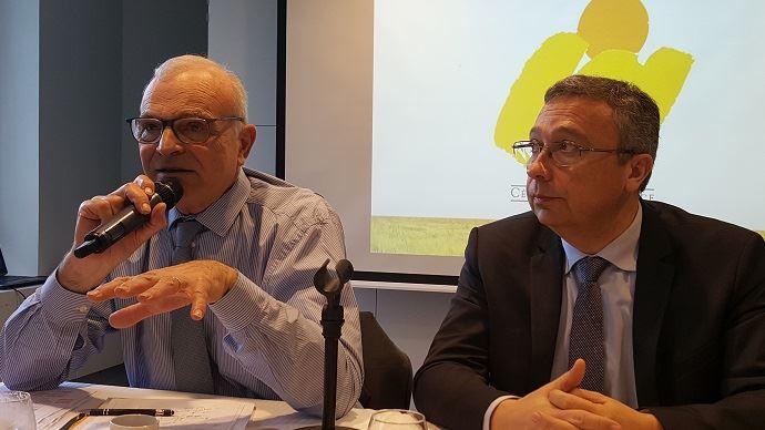 Philippe Pinta et Eric Thiroin, respectivement président et secrétaire général de l'AGPB, lors d'un point presse mardi 23 janvier 2018.