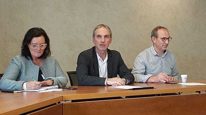 Marie-Thérèse Bonneau, Thierry Roquefeuil et André Bonnard, les trois leaders de la FNPL, en septembre 2017.
