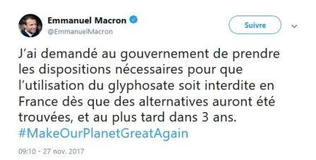 tweet d emmanuel macron sur le glyphosate