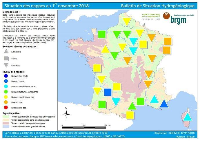 État des nappes phréatiques en France au 1er novembre 2018.