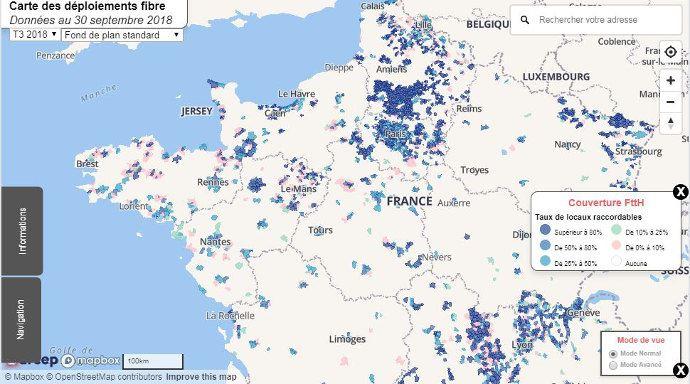 Carte de déploiement fibre optique en France, toutes les zones ne sont pas couvertes mais des avancées sont à noter