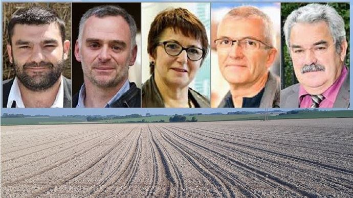 Jérémie Decerle (Jeunes agriculteurs), Laurent Pinatel (Confédération paysanne), Christiane Lambert (FNSEA), Bernard Lannes (Coordination rurale) et Jean Mouzat (Modef) débattront ensemble sur différents sujets, dans le cadre des élections chambres d'agriculture.