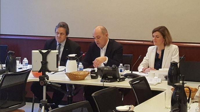 François Burgaud, François Desprez et Catherine Dagorn lors de la conférence annuelle du Gnis, jeudi 10 janvier 2019.