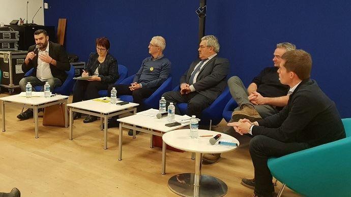 Les cinq représentants syndicaux lors du débat organisé par l'association française des journalistes de l'agriculture et de l'alimentation (Afja)