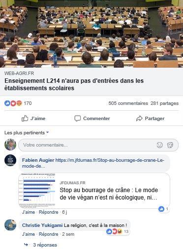 post facebook non a L214 dans les ecoles