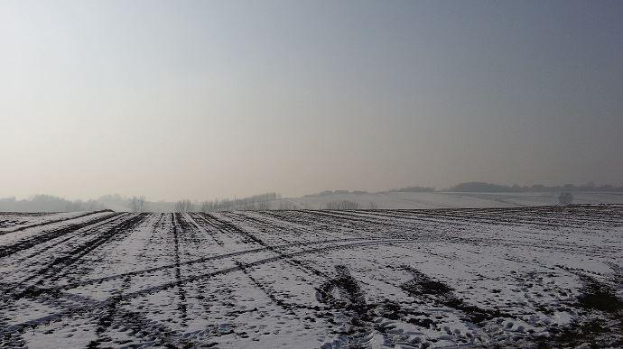 champ recouvert de neige