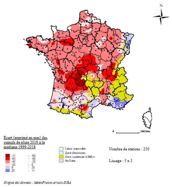 Pluie du 15 mars au 22 avril 2019 - écart à la moyenne 20 an