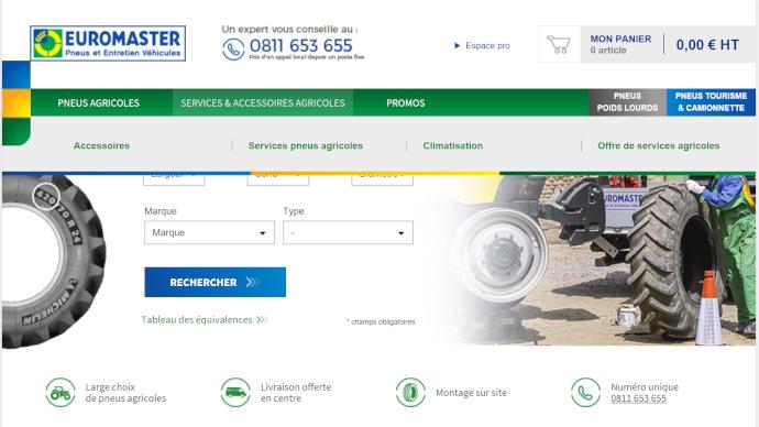 Le site de vente en ligne Euromaster permet d'acheter des pneumatiques agricoles depuis son salon et de payer par prélèvement à 30 jours.