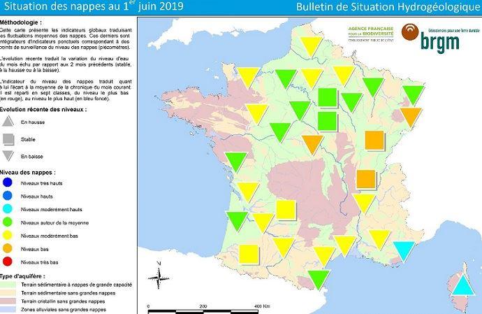Situation des nappes au 1er juin 2019