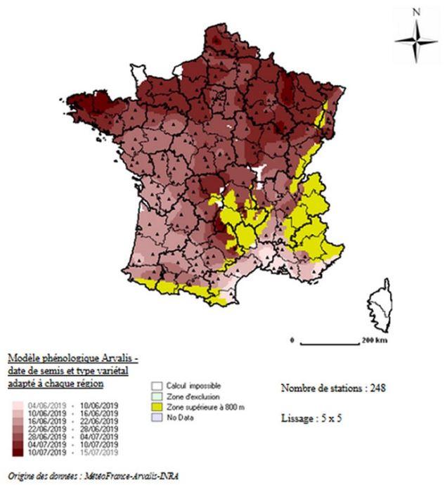 Dates estimées d'apparition du stade maturité physiologique pour le blé tendre en 2019