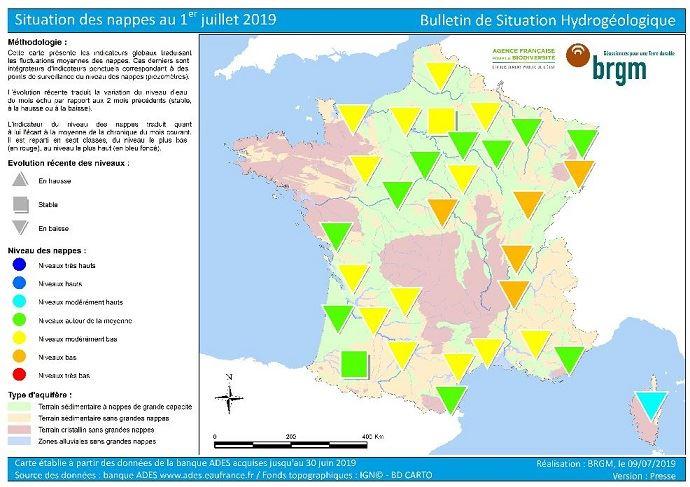 Situation des nappes au 1er juillet 2019