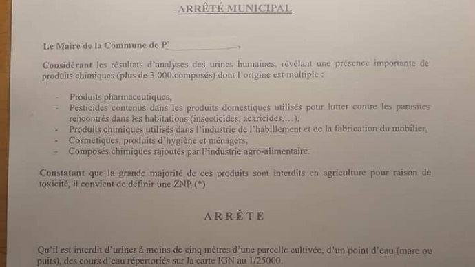 Extrait de l'arrêté municipal de Prudemanche, dans l'Eure-et-Loir, interdisant d'uriner à moins de cinq mètres des champs.