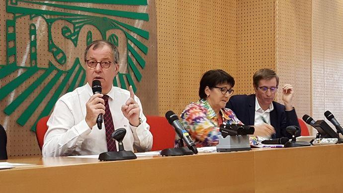 Richard Girardot, président de l'Ania, a présenté les recommandations du trio Ania-FNSEA-Coop de France, mardi 1er octobre 2019, aux côtés de Christiane Lambert et Dominique Chargé.