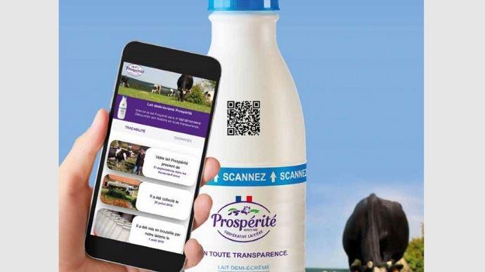 Le lait Prospérité offre aux consommateurs la possibilité de connaitre les infos de traçabilité et les critères du cahier des charges.