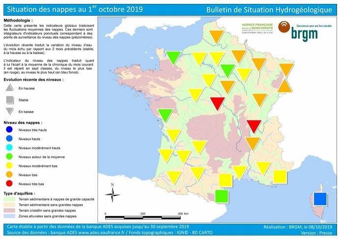 Etat des nappes phréatiques au 1er octobre 2019.
