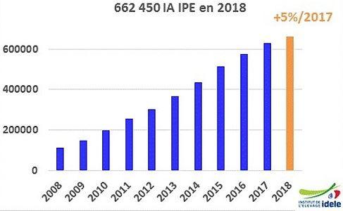 L'Idele recense 662450 IA IPE en 2018, soit 5% de plus qu'en 2017.