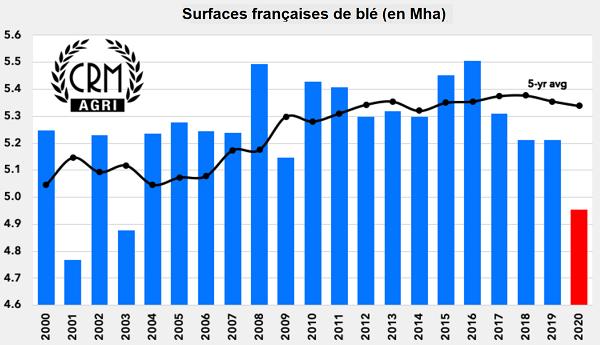 Évolution des surfaces de blé en France