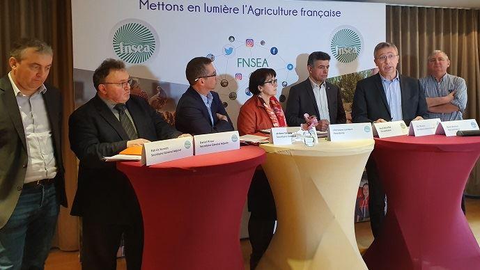 Les représentants de la FNSEA lors de la conférence de rentrée 2020 du syndicat, mardi 14 janvier.