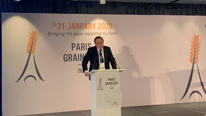 Michel Portier, président fondateur d'Agritel, lors de la quatrième édition du Paris Grain Day vendredi 31 janvier 2020.