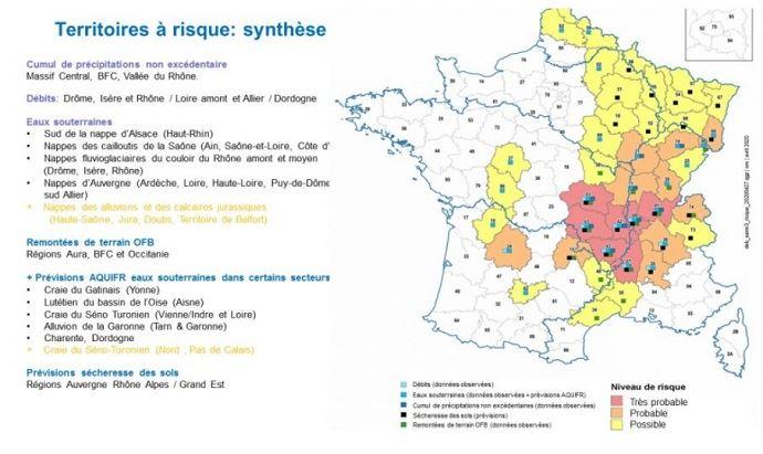 carte nappe phréatique france 2020 Régions exposées au risque de sécheresse en 2020