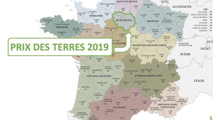 En Ile-de-France, le prix moyen de l'hectare libre atteint 7750€ en 2019.