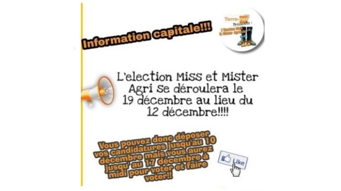 report resultats concours miss et mister agri 2021 au 19 decembre 2020