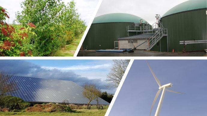 Bois, méthanisation, éolienne, panneaux solaires: les différentes valorisation d'énergie possible à la ferme.