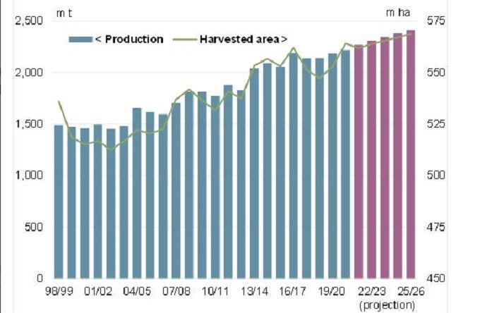 Projections de production mondiale (en millions de tonnes) et de surfaces (en millions d'hectares) de céréales.