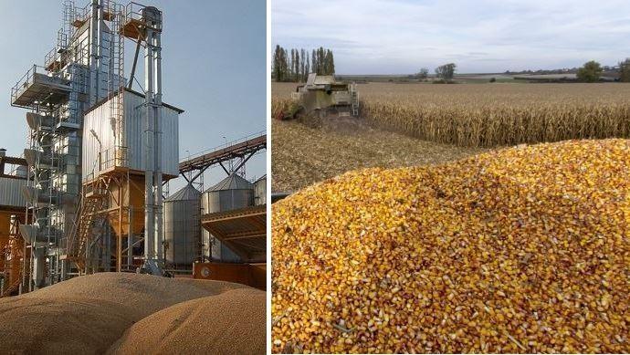 silos portuaires cereales tas de mais dans benne
