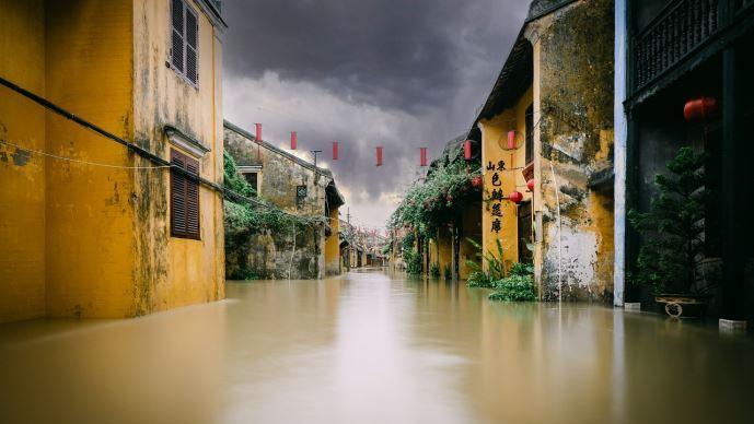 Rue inondée en Chine