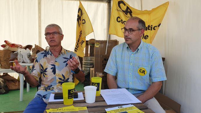 Bernard Lannes et Damien Brunelle, respectivement présidents de la Coordination rurale et de France grandes cultures, mercredi 8 septembre à Innov-agri.