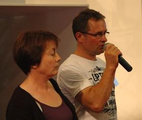 Christine Le Vacon, ici avec son mari Gérard, témoignent sur l'Aei au Space 2011.