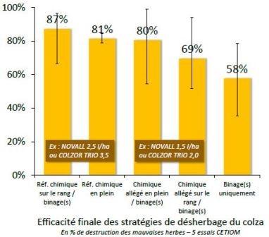 Niveau d'efficacité de différentes stratégies de désherbage du colza.