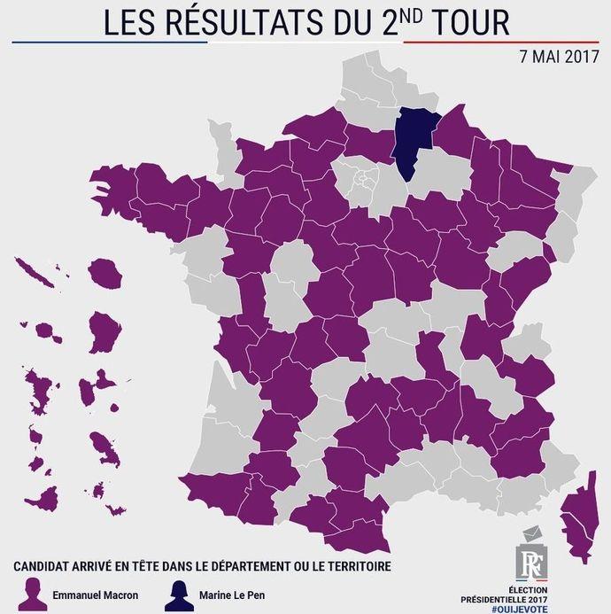 Candidat en tête par département - Résultats partiels à 23h15 à la présidentielle 2017